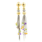 Vintage Estate 18K White Yellow Gold Dangle Gemstone Earrings