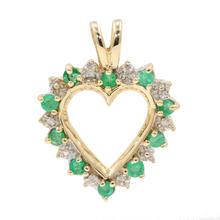Fine Vintage Estate 10K Yellow Gold Diamond Emerald Heart Pendant