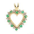 Fine Vintage Estate 10K Yellow Gold Diamond Emerald Heart Pendant