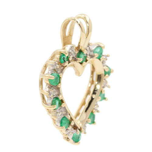 Fine vintage estate 10k yellow gold diamond emerald heart pendant fine vintage estate 10k yellow gold diamond emerald heart pendant aloadofball Images