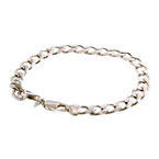 Men's Vintage Estate 925 Silver Cuban Link Lobster Claw Clasp Bracelet - 9-inch