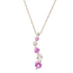 "NEW Modern 10K White Gold Pink White Gemstone Journey Pendant 20"" Chain Necklace"