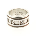 TIFFANY & CO 1995 Sterling Silver Atlas Roman Numeral Wide Band Ring
