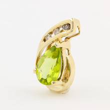 Modern Estate 10K Yellow Gold Diamond Pear Cut Peridot Slide Pendant