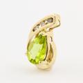 Modern Estate 10K Yellow Gold Diamond Pear Cut Peridot Slide Pendant