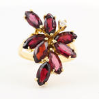 Vintage Retro 10K Yellow Gold Garnet Marquise 4.00CTW Cocktail Right Hand Ring