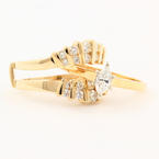 Vintage Womens 18K Yellow Gold Diamond Solitaire Wedding Ring 14K Enhancer Set