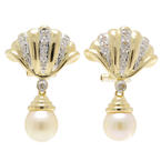 Classic Estate 14K Yellow Gold Cultured Pearl & Diamond Omega Back Earrings