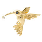 Estate 14K Yellow Gold High Polished 3D Humming Bird Slide Pendant