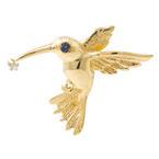 Estate 14K Yellow Gold High Polished 3D Humming Bird Slide Pendant