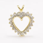 Modern Estate 10K Yellow Gold Diamond Open Heart 20MM Pendant