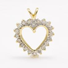 Modern Estate 10K Yellow Gold Diamond Open Heart 20MM Pendant