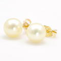 Estate 14K Yellow Gold Cultured Pearl Push Back Earrings Studs