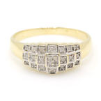 Classic Estate Womens 14K Yellow Gold Natural Diamond Pyramid Right Hand Ring
