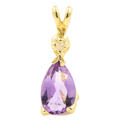 Modern Estate 14K Yellow Gold Diamond Pear Cut Amethyst  Drop Pendant