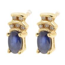 Charming Ladies 10K Yellow Gold Sapphire Diamond  2 Piece Jewelry Set