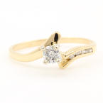 NEW Modern 14K Yellow Gold Solitaire Diamond Engagement Promise Bypass Ring
