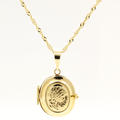 "Vintage Estate 10K Yellow Gold Oval Locket Pendant 21"" Chain"