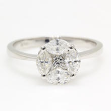 NEW Modern 14K White Gold Marquise Princess Cut Diamond 0.85CTW Engagement Ring Jewelry
