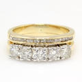 Vintage Estate Custom 14K Yellow Gold Diamond Anniversary Right Hand Ring Band