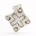 Modern Estate 14K White Gold Diamond 0.35CTW Ornate Locket Pendant
