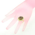 Vintage Estate 18K Yellow Gold Garnet Opal Cocktail Right Hand Ring