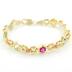 "Retro Estate 14K Yellow Gold Multi-Colored Zirconia Statement 7"" Bracelet"