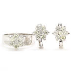 Vintage Estate Ladies 14K White Gold Diamond Rosita Cluster Ring Earrings 2PC Jewelry Set