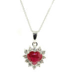 "Classic 14K White Gold Red Ruby Diamond Heart Pendant 16"" Chain"