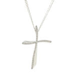 "NEW Modern 14K White Gold Diamond Cross Pendant Mariner 24"" Chain"
