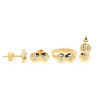 Estate 14K Yellow Gold Diamond Earrings Pendant Ring 3PC Jewelry Set - 0.80CTW
