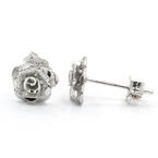 NEW Modern 18K White Gold Rose Cut Flower Push Back Stud Earrings