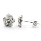 NEW Modern 18K White Gold Rose Cut Flower Push Back Stud Earrings