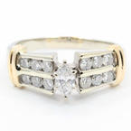 Charming Ladies 14K White Gold Diamond Marquise Cut Engagement Ring - 0.75CTW