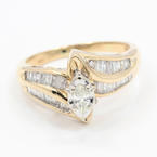 Exquisite Ladies 14K Yellow Gold Diamond 0.75CTW Bypass Right Hand Ring Jewelry
