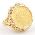 Authentic Queen Victoria Australia Sovereigns 1874 Young Head Coin Gold Ring