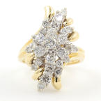 Classic Womens Vintage 14K Yellow Gold Diamond 2.00CTW Cluster Cocktail Ring