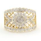 Vintage 14K Yellow Gold Diamond 0.55CTW Ring Hand Ring