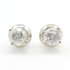 NEW Classic 14K White Gold Diamond Stud Screw Back Earrings