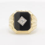 Fine Vintage Estate Men's 10K Yellow Gold Diamond Onyx Ring