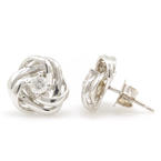 NEW Modern 14K White Gold Diamond Knot Stud Push Back Earrings