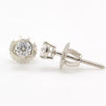 NEW Classic 14K White Gold Diamond Stud Screw Back Earrings