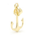 NEW 14K Yellow Gold High Polished 25mm Anchor Pendant