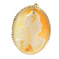Vintage Estate 10K Yellow Gold Cameo Diamond Pin Pendant Jewelry