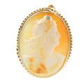 Vintage Estate 10K Yellow Gold Cameo Diamond Pin Pendant Jewelry