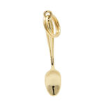 Estate 14K Yellow Gold High Polished 30mm 3D Spoon Charm Pendant