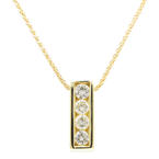 "Vintage Estate 14K Yellow Gold Four Diamond 0.50CTW Pendant Wheat 16"" Chain Necklace"