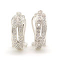 Classic Estate Womens 14K White Gold Natural Diamond 1.20CTW Huggie Omega Back Earrings