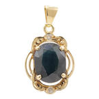 Modern Retro 14K Yellow Gold London Blue Topaz Diamond Pendant