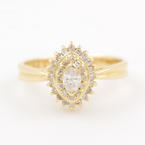 Estate Vintage 18K Yellow Gold Diamond 0.34CTW Right Hand Anniversary Ring